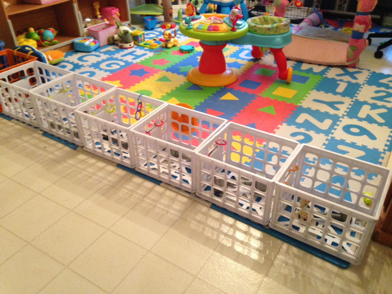 Toddler Barrier Using Plastic Crates